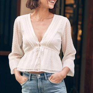 ABERCROMBIE & FITCH Long Sleeve Chiffon Top